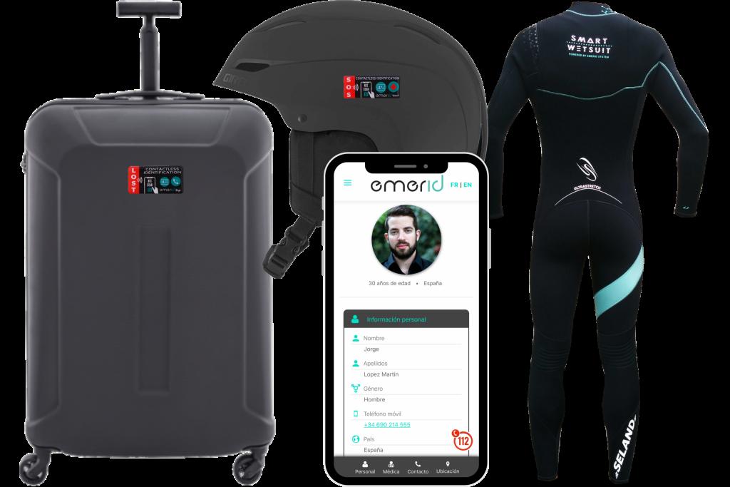 Emerid NFC productos Helmet Bags y wetsuit